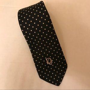 CHRISTIAN DIOR Vintage Men's Necktie Navy Ivory